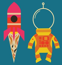 Rocket with astronaut costume vector