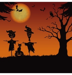 Halloween landscape scarecrows and pumpkin vector image