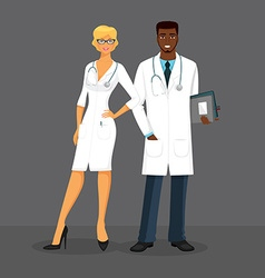 Man and woman doctors vector