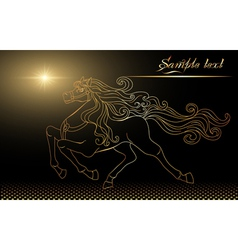 golden horse and stars vector image