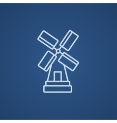Windmill line icon vector