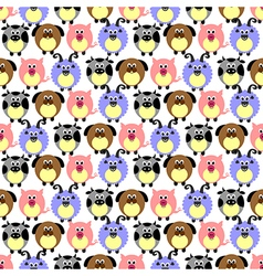 Pattern comic pigs sheeps dogs and cows vector