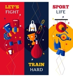 Boxing attributes vertical banners set vector