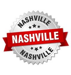 Nashville round silver badge with red ribbon vector