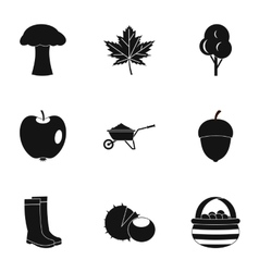 Autumn icons set simple style vector