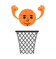Basketball and ring game accessories hit in net vector