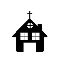 Black silhouette of church in white background vector