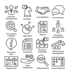 Business management icons in line style Pack 18 vector image vector image