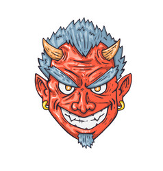 cartoon devil face for print and web vector image