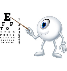 cartoon eye ball optician pointing to snellen char vector image