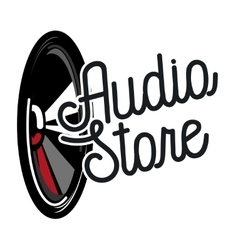 Color vintage audio store emblem vector