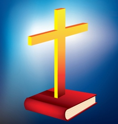 cross and bible vector image