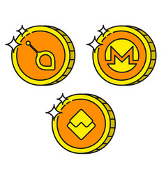 cryptocurrency black outline gold icons monero vector image