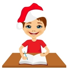 cute little caucasian student boy writing vector image vector image