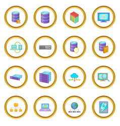 Data base icons circle vector