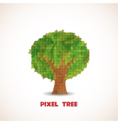 Doodle pixel tree vector image vector image