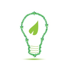 eco bulb with leaf green vector image