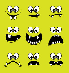 faces of monsters on a green background vector image vector image