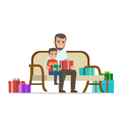 Father and son share gifts christmas vector