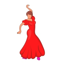 Flamenco dancer icon cartoon style vector image