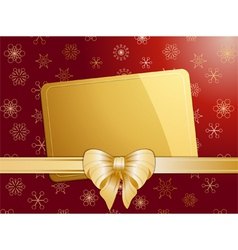 gold christmas bow and label landscape vector image