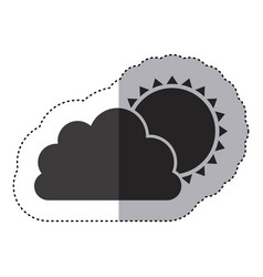 Gray silhouette sticker of cloud with sun vector