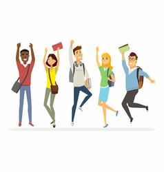 happy jumping senior school students - cartoon vector image