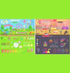 Healthy and unhealthy parks comparison infographic vector
