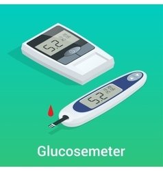 Isometric diabetes health-care life flat concepts vector