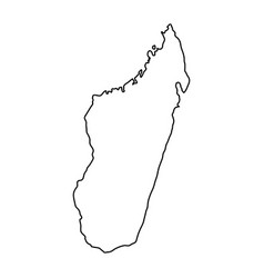Madagascar map of black contour curves on white vector