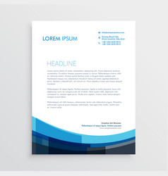 modern creative blue letterhead template design vector image vector image