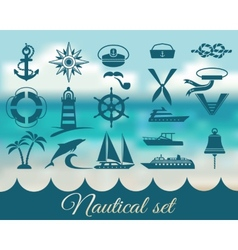 nautical marine icons set vector image vector image