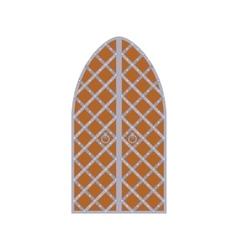 Old wooden arch door with metal lattice icon vector