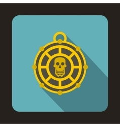Piratical medallion with skull icon flat style vector