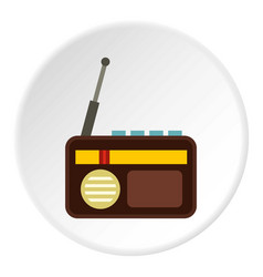 Retro radio icon circle vector