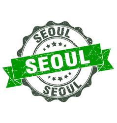 Seoul round ribbon seal vector