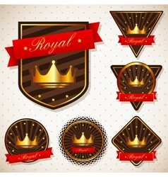 set of royal labels with retro vintage styled vector image