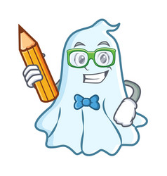 student with pencil cute ghost character cartoon vector image