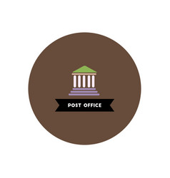 Stylish icon in color circle building post office vector
