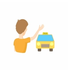 Taxi car and passenger waving icon cartoon style vector image vector image