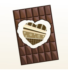 Valentine chocolate with scrapbook hearr inside vector image