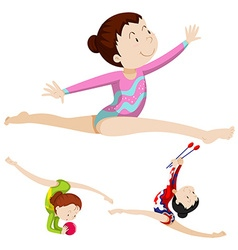 Woman athlete doing floor exercise vector