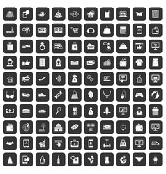 100 online shopping icons set black vector image vector image