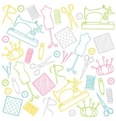 Doodle sewing set vector