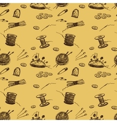 Seamless pattern sewing accessories vector
