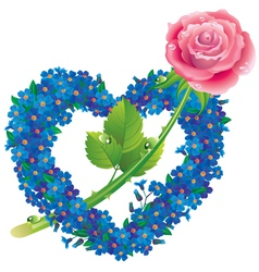 Heart from flowers forget me with a rose vector