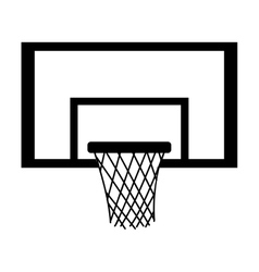 Silhouette monochrome with square basketball hoop vector