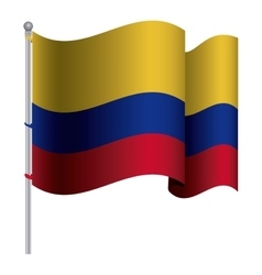 Realistic colombian flag waving with pole vector
