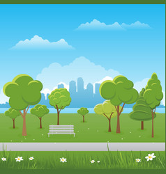 Spring landscape background public park vector