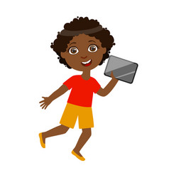 Boy running with tablet part of kids and modern vector